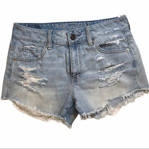 American Eagle High Rise Distressed Cut Off Shorts